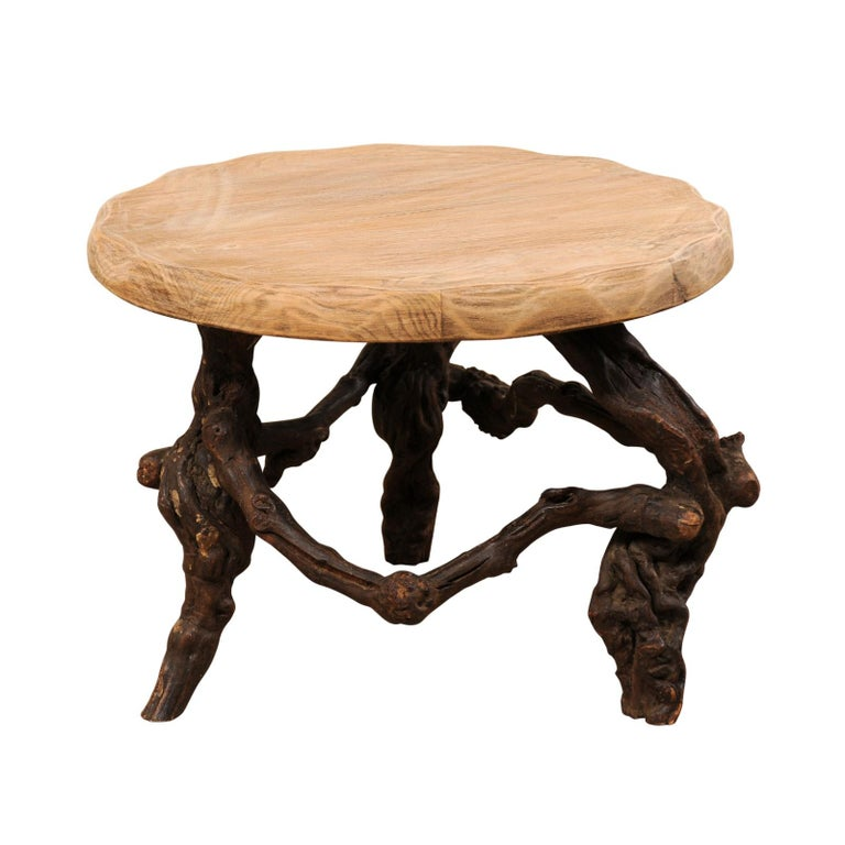 French Early 20th Century Small Wood Coffee Table with Grapevine Base For Sale