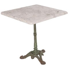 French Early 20th Century Square French Marble-Top Bistro Table
