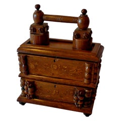 French Early 20th Century Tramp Art Carved and Stained Walnut Double Jewelry Box