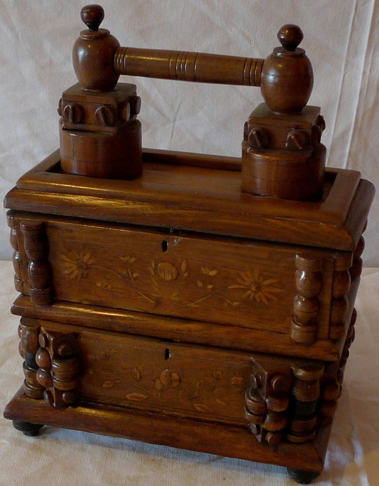 French early 20th century tramp art walnut hand carved and stained double jewelry box.