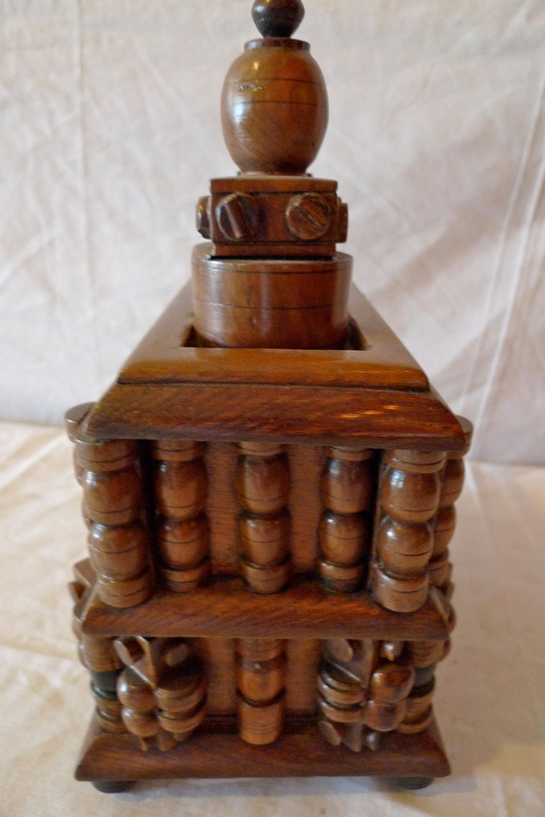 French Early 20th Century Tramp Art Hand Carved and Stained Double Jewelry Box In Distressed Condition For Sale In Santa Monica, CA
