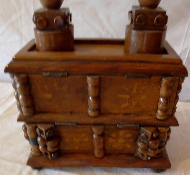 Walnut French Early 20th Century Tramp Art Hand Carved and Stained Double Jewelry Box For Sale