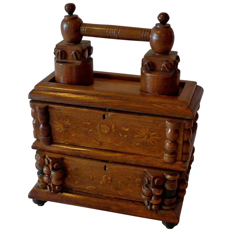 French Early 20th Century Tramp Art Hand Carved and Stained Double Jewelry Box For Sale