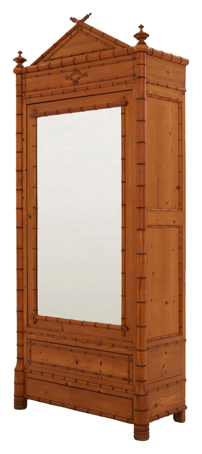 French Early 20th Century Wooden Faux Bamboo Armoire In Good Condition In Chicago, IL