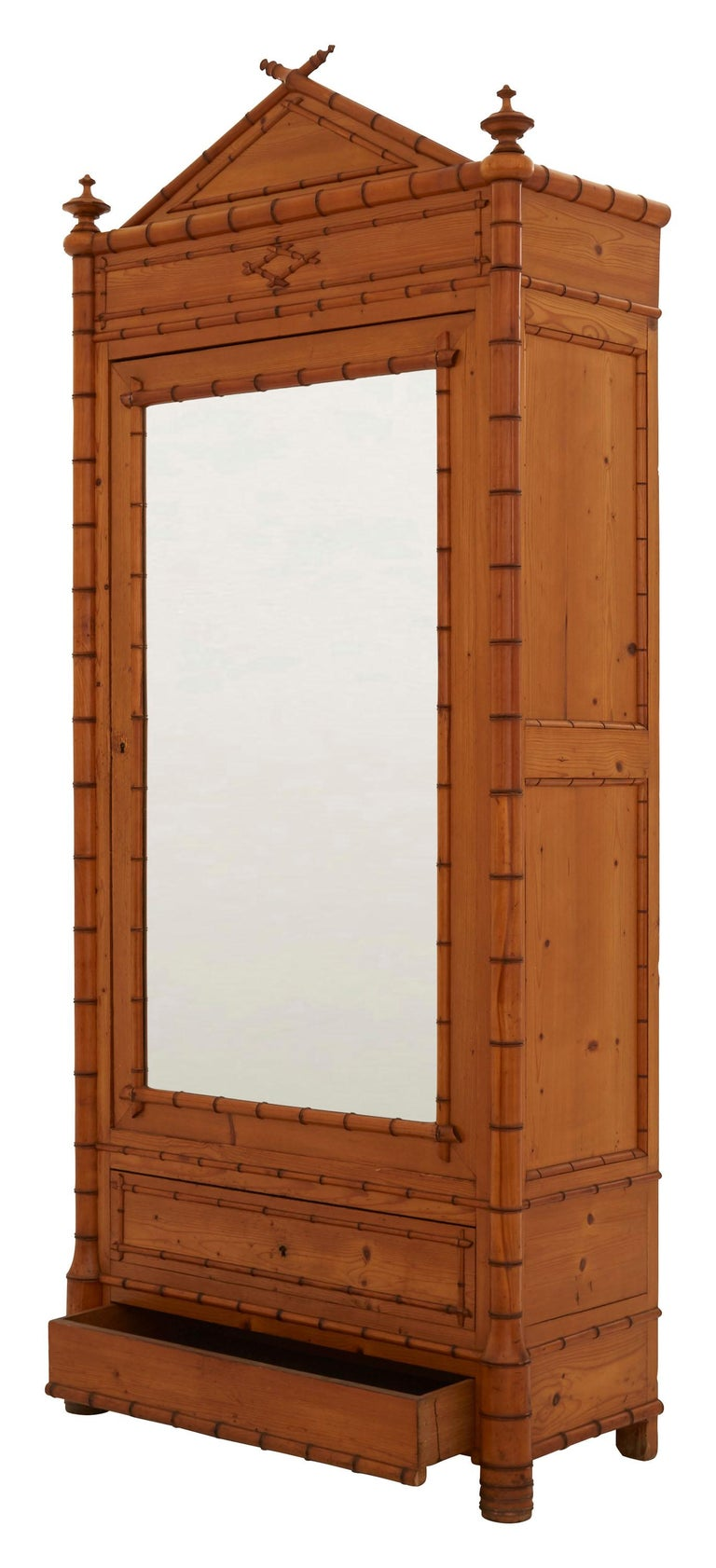 French Early 20th Century Wooden Faux Bamboo Armoire 1