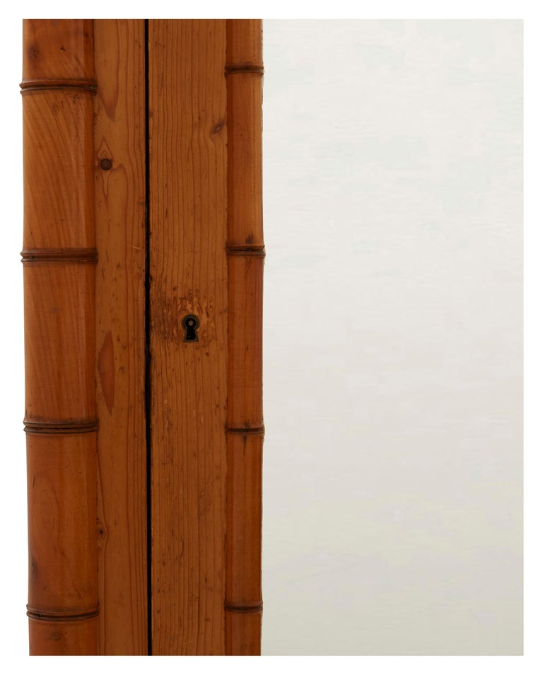 French Early 20th Century Wooden Faux Bamboo Armoire 4