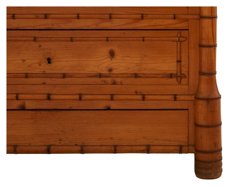 French Early 20th Century Wooden Faux Bamboo Armoire 5
