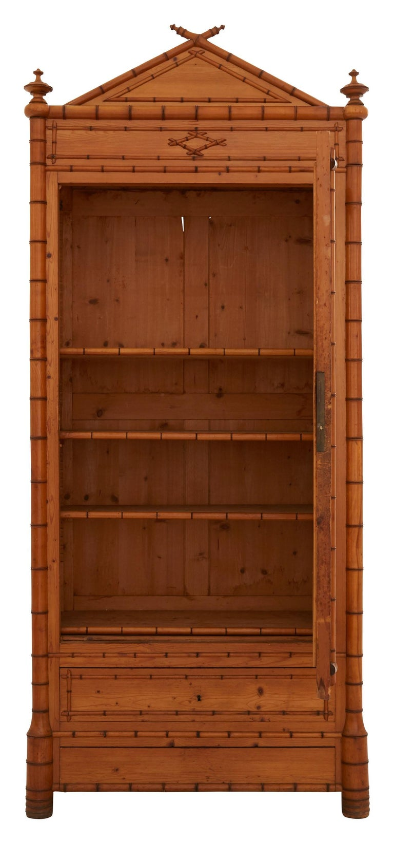 French Early 20th Century Wooden Faux Bamboo Armoire 6