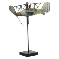 French Early 20th Century Zinc Aeroplane Weathervane