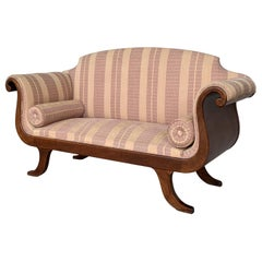 French Early 20th Regency Style Wood Scroll Arms Sofa or Setee
