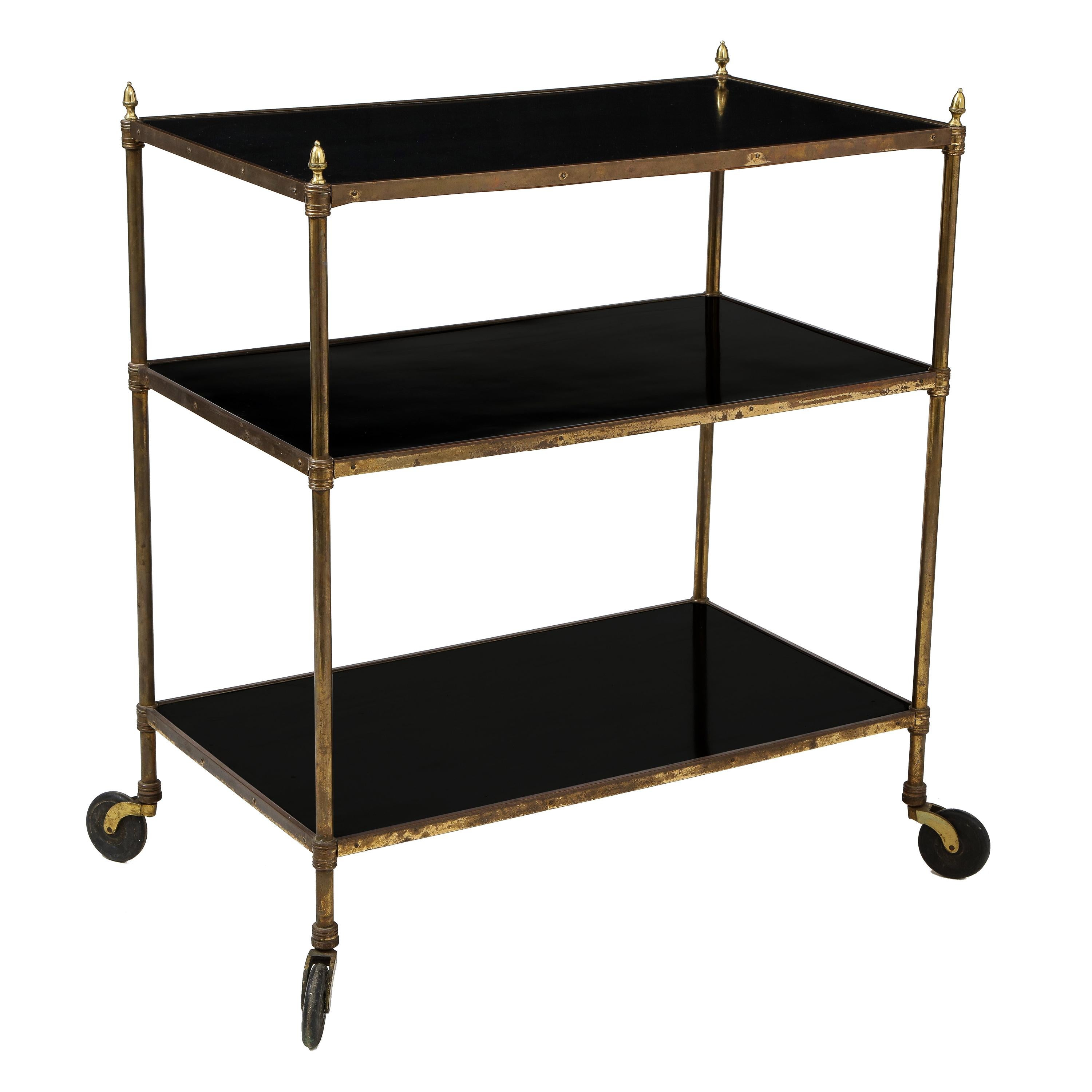 French Ebonized and Brass Rolling Bar Cart