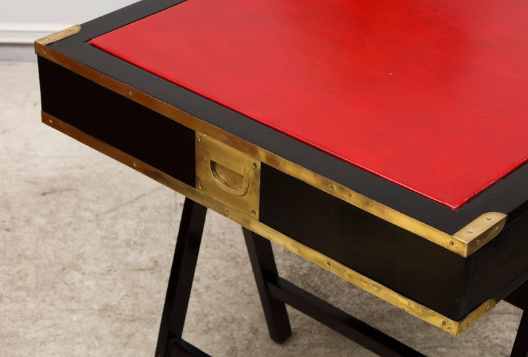French Ebonized Campaign Desk Red Leather Top And Applied Brass For Sale 5