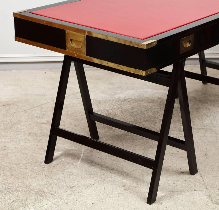 French Ebonized Campaign Desk Red Leather Top And Applied Brass For Sale 6