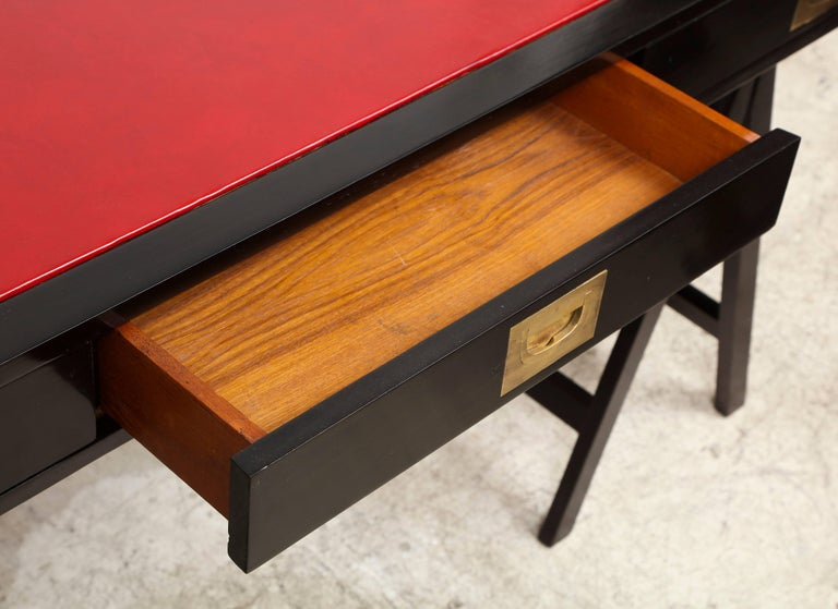 French Ebonized Campaign Desk Red Leather Top And Applied Brass For Sale 2