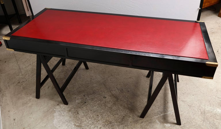 French Ebonized Campaign Desk Red Leather Top And Applied Brass For Sale 8