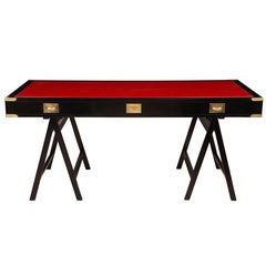 French Ebonized Campaign Desk Red Leather Top And Applied Brass