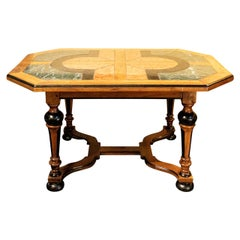 French Ebonized Marble-Top Center Hall Table