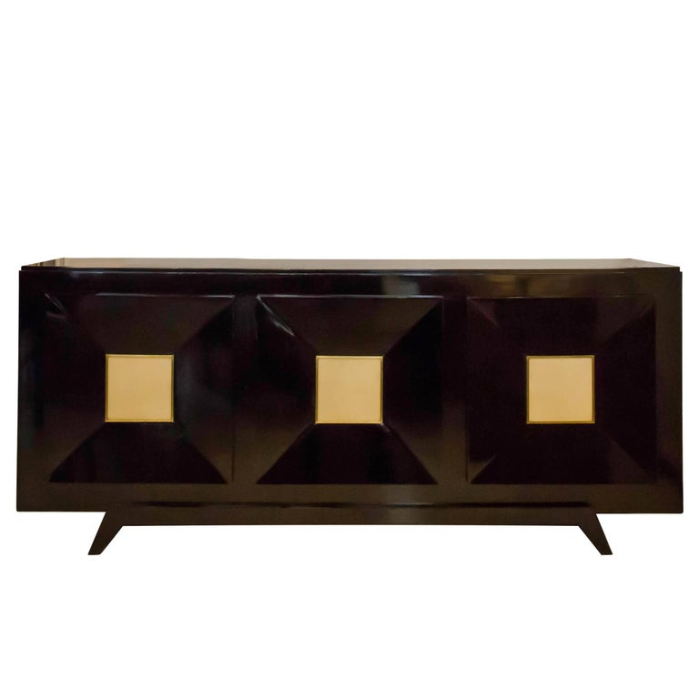 French Ebonized Sideboard with Parchment Doors