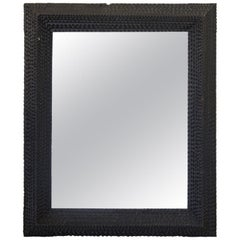 French Ebonized Tramp Art Mirror, circa 1900s