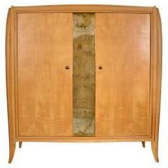 French Editions AV Burr Maple Wardrobe with Mirror Panel, 1940's