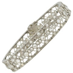 French Edwardian 5.50 Carat Diamonds Platinum Line Bracelet