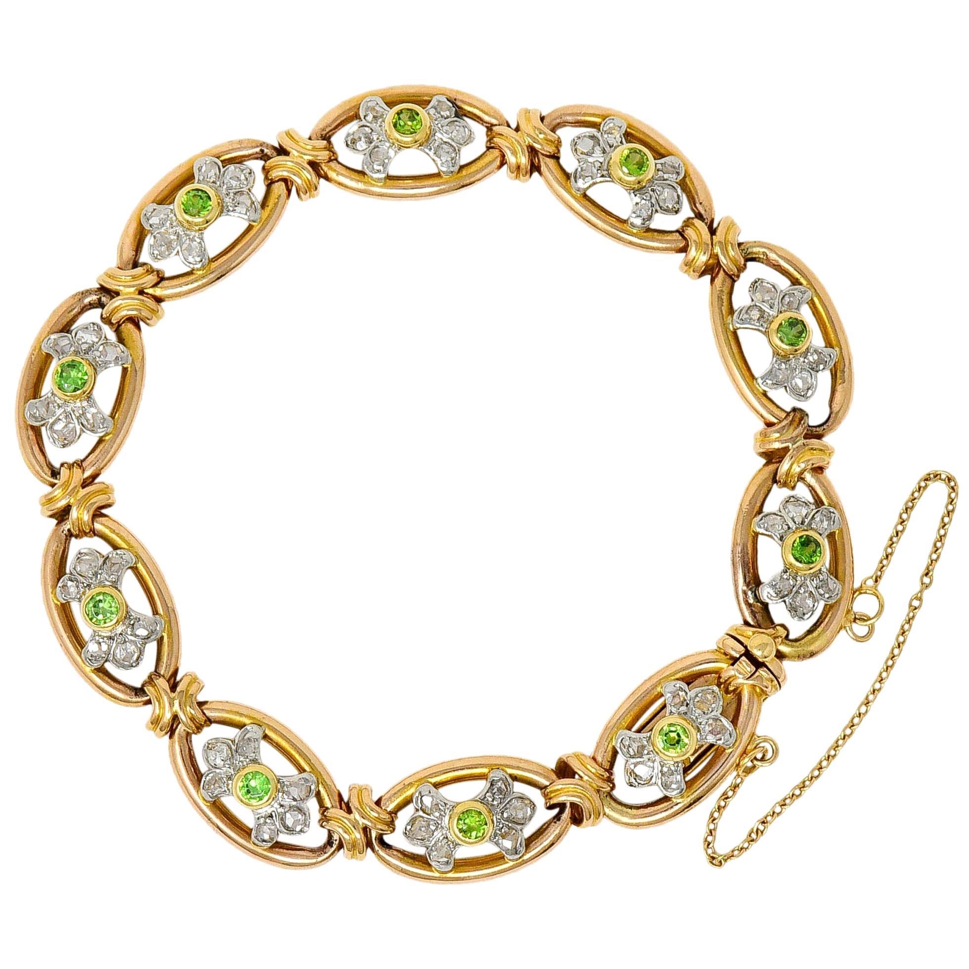 French Edwardian Demantoid Garnet Diamond Platinum-Topped 18 Karat Gold Bracelet