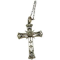 French Edwardian White, Yellow Gold and Platinum Diamond Cross Pendant Necklace