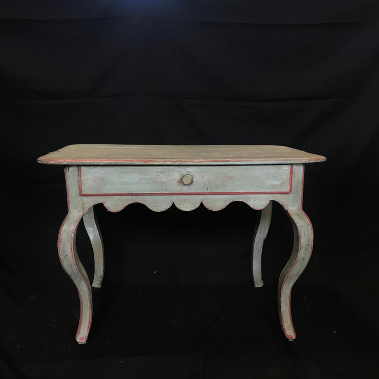 French Provincial French Eggshell Blue Country Side Table or Nightstand For Sale