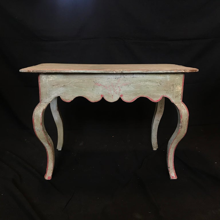 Early 20th Century French Eggshell Blue Country Side Table or Nightstand For Sale