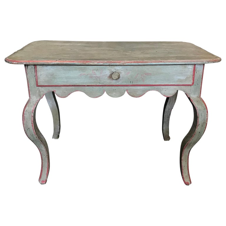 French Eggshell Blue Country Side Table or Nightstand For Sale