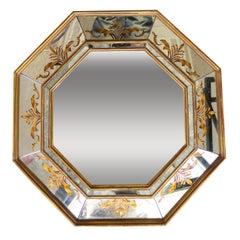 French Églomisé Octangular Mirror with Gilt Frame