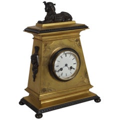 French Egyptian Revival Antique Bronze Mantel Clock with Sphinx, circa 1890