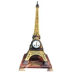 19th Century French Bronze Eiffel Tower Clock