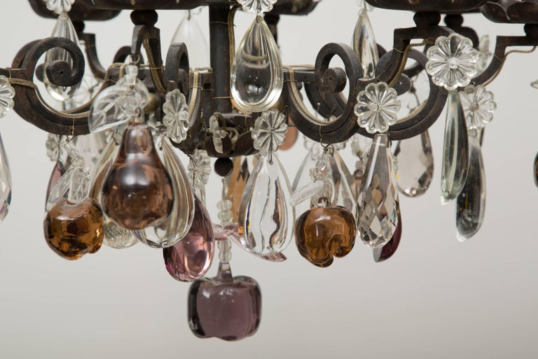French Eight-Light Chandelier with Multi-Form Pendants For Sale 1