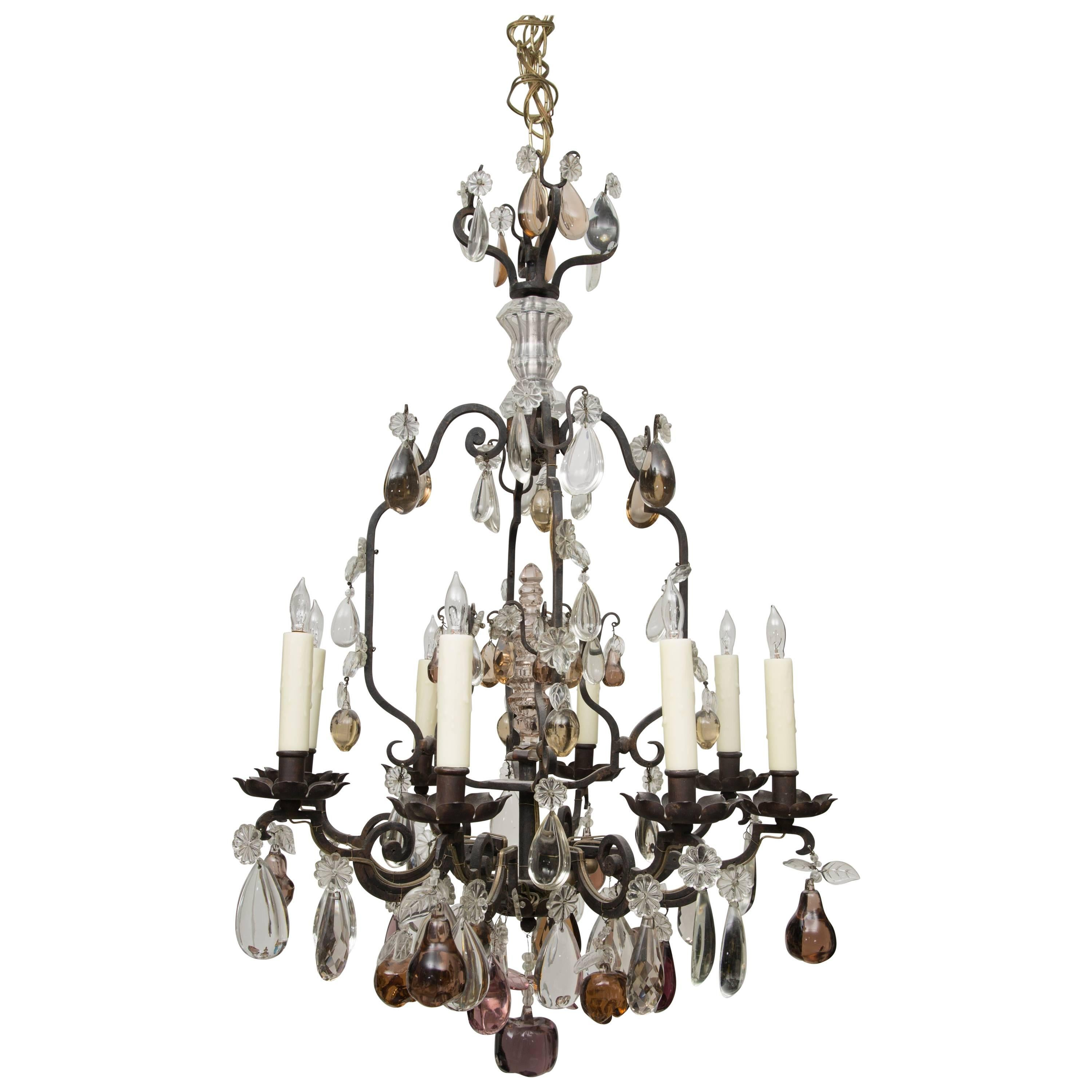 French Eight-Light Chandelier with Multi-Form Pendants