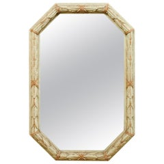 French Elongated Octagonal-Shaped Mirror with Garland Motif Carved Wood Surround