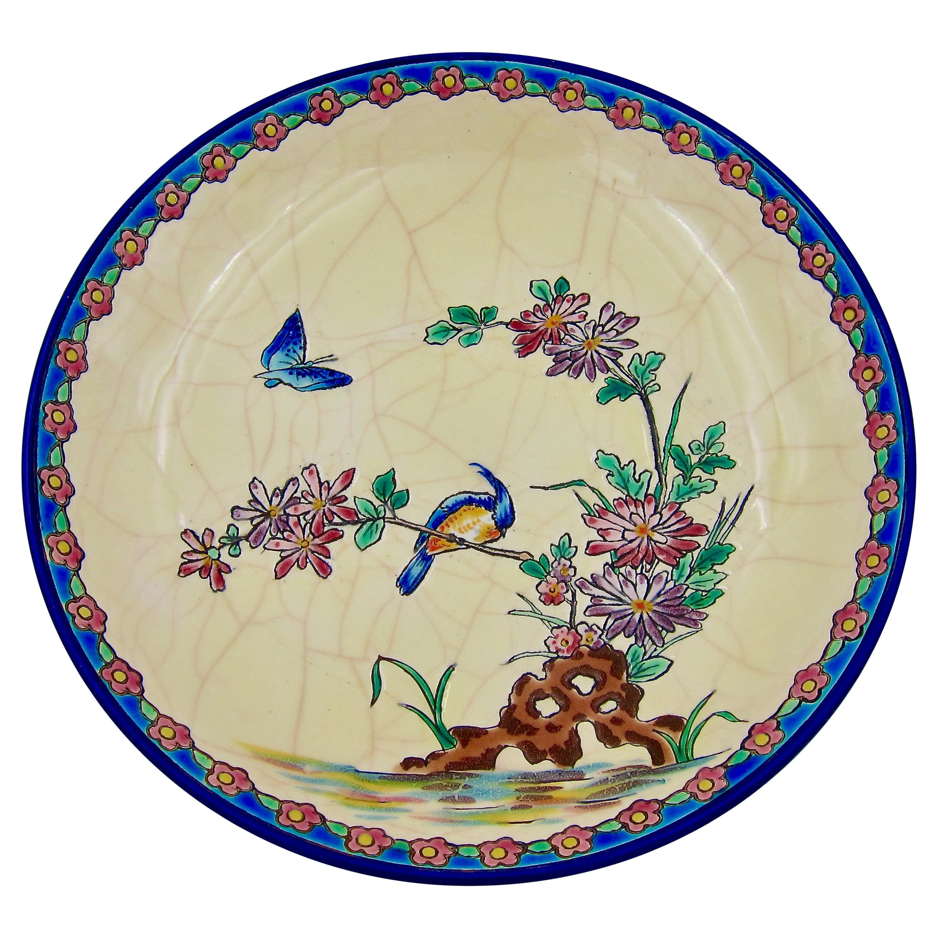 French Emaux de Longwy Footed Chinoiserie Bowl Decorated by Albert Kirchtetter
