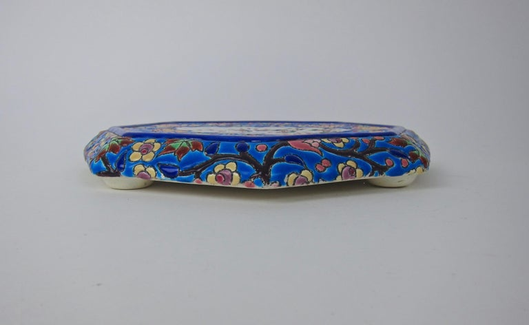 French Emaux de Longwy Vintage Stand or Trivet with Chinoiserie Bird Decor For Sale 4