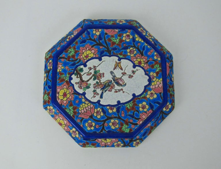 Glazed French Emaux de Longwy Vintage Stand or Trivet with Chinoiserie Bird Decor For Sale