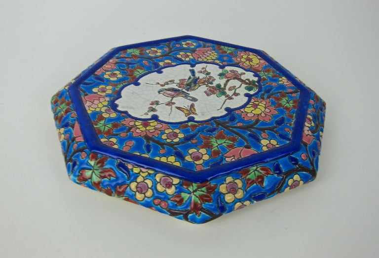 French Emaux de Longwy Vintage Stand or Trivet with Chinoiserie Bird Decor In Good Condition For Sale In Los Angeles, CA