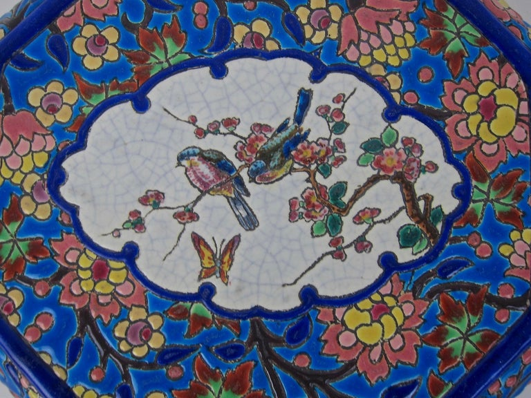 20th Century French Emaux de Longwy Vintage Stand or Trivet with Chinoiserie Bird Decor For Sale