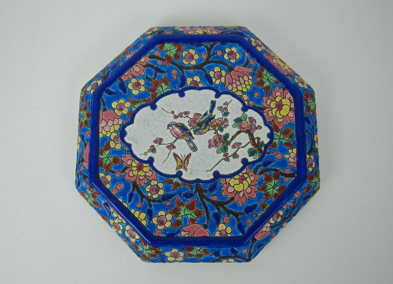 French Emaux de Longwy Vintage Stand or Trivet with Chinoiserie Bird Decor For Sale 3