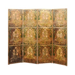 French Embossed Leather Floral Design 4-Panel Screen, 18th Century