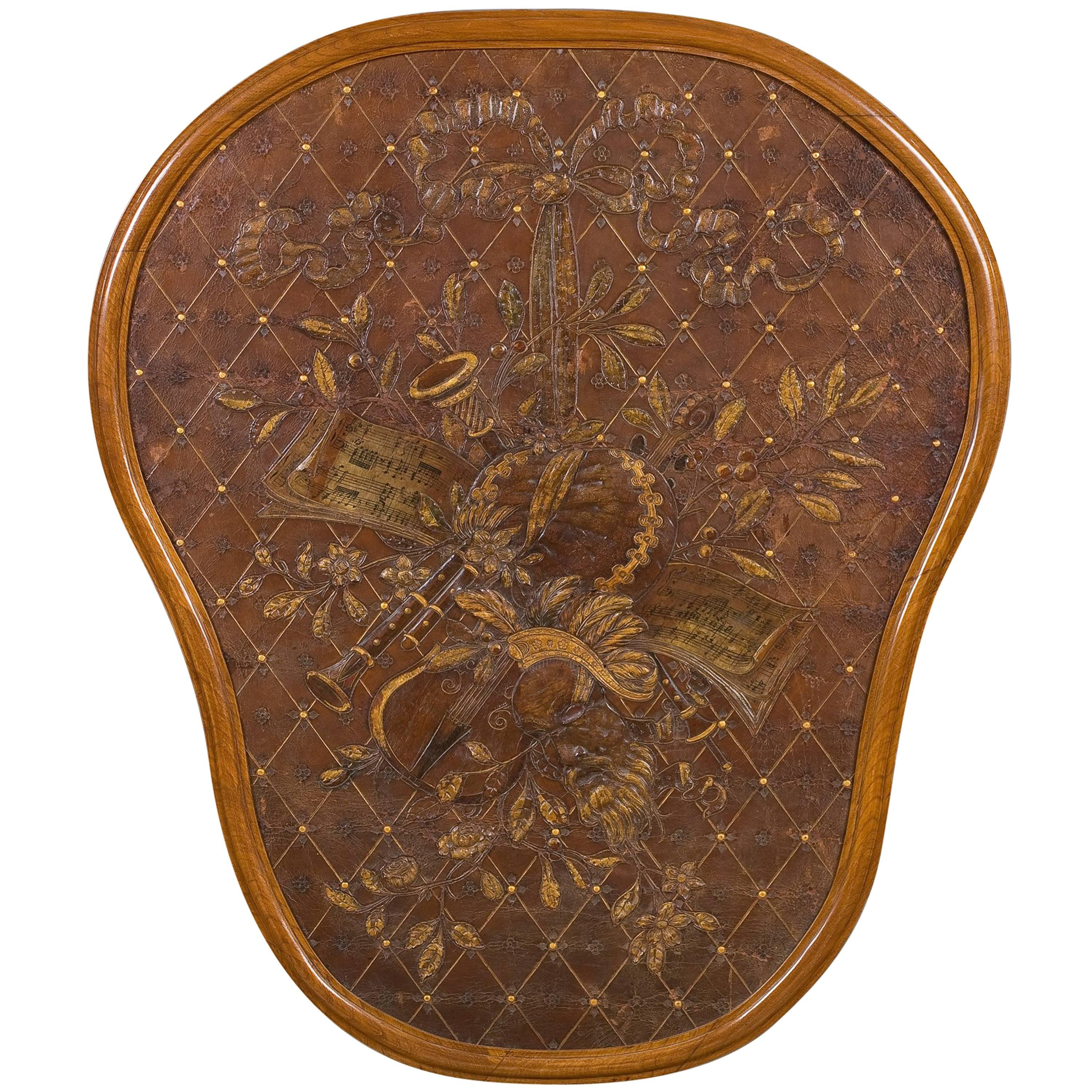 French Embossed Leather Panel, 19th Century