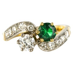 French Emerald Diamond Gold Toi et Moi Engagement Ring