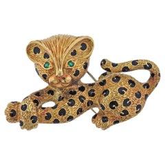 French Emerald Enamel Gold Leopard Brooch Pin