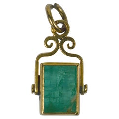 French Emerald Gold Charm Pendant