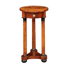 French Empire 1820s Walnut Pedestal Table with Single Drawer and Doric Columns