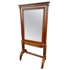 French Empire 19th Century Mahogany Cheval Mirror with Original Mirror