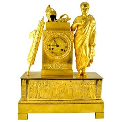 French Empire Allegorical Clock Depicting Roman Triumph and Power